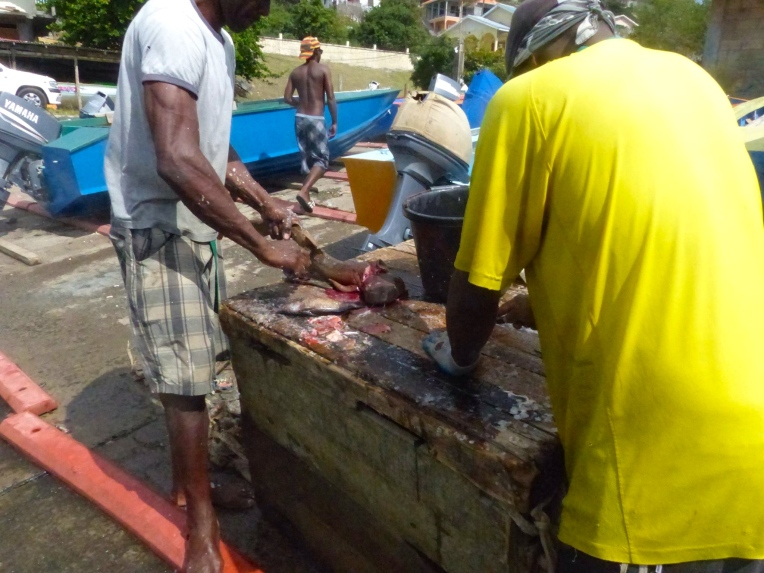 Kalastajat käsittelemässä saalistaa