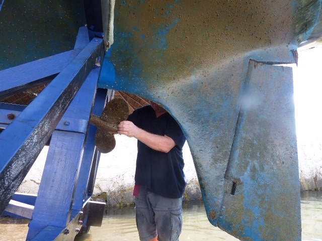 Kun vene oli ylhäällä, menin saman tien irroittamaan potkuria.