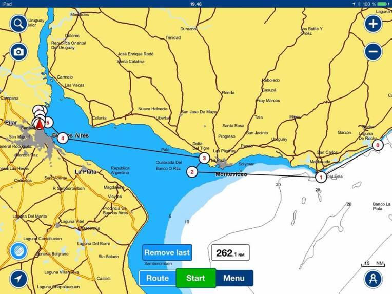 0. Lähtöpaikka La Paloma  1. Punta Del Este  3. Ankkuripaikka Montevideon länsipuolella.